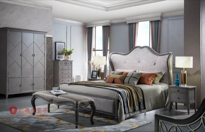 [紅蘋果傢俱] YWG-806 歐式輕奢唯美 布床 歐式皮床 新古典床台 黃銅五金床架 美式雙人床