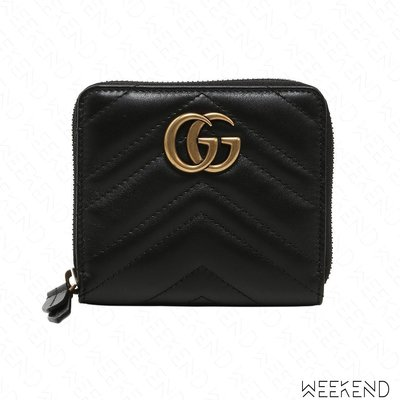 【WEEKEND】 GUCCI Small GG Marmont 皮革 拉鍊 皮夾 零錢包 卡夾 黑色 474813