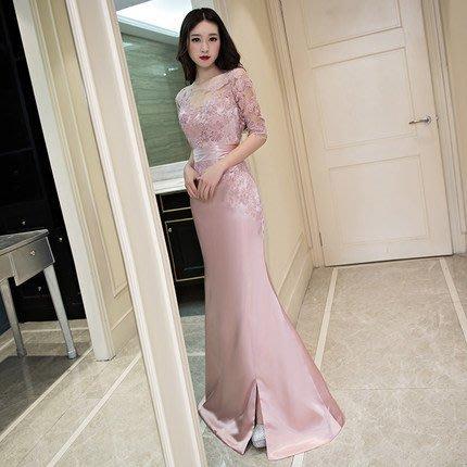 大小姐時尚精品屋~~粉色開衩修身顯瘦宴會禮服~3件免郵