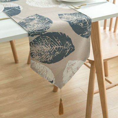 【可可里】現代簡約 棉麻亞麻布印花葉子桌旗 桌布布藝禪意茶席