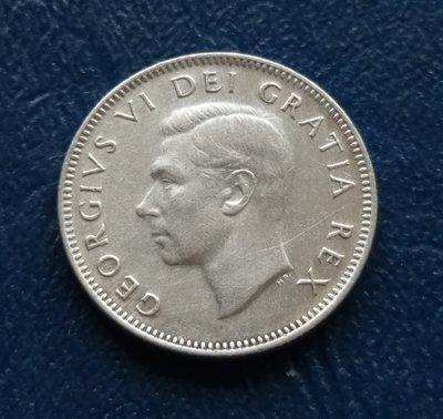 加拿大 CANADA 1950 喬治六世  25分  銀幣(80%)  280-383