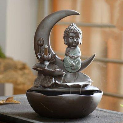 新款仿古陶瓷倒流香爐如來創意觀賞擺件香爐煙倒流蓮花熏香爐 高32cm