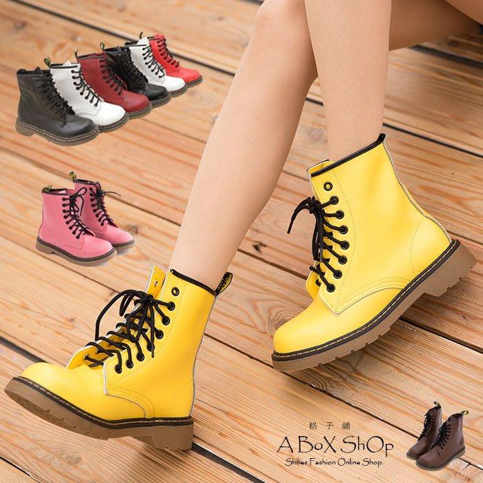 格子舖*【AA601-1】艾薇兒ViVi雜誌款 日系8孔真皮馬汀靴 馬丁鞋 短靴 8色現貨
