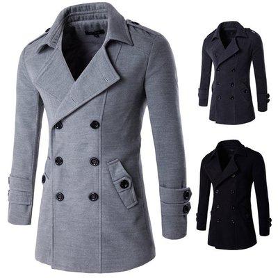 『潮范』 WS09 新品韓版男款休閒純色尼大衣 風衣外套 長大衣 型男軍外NRB2377