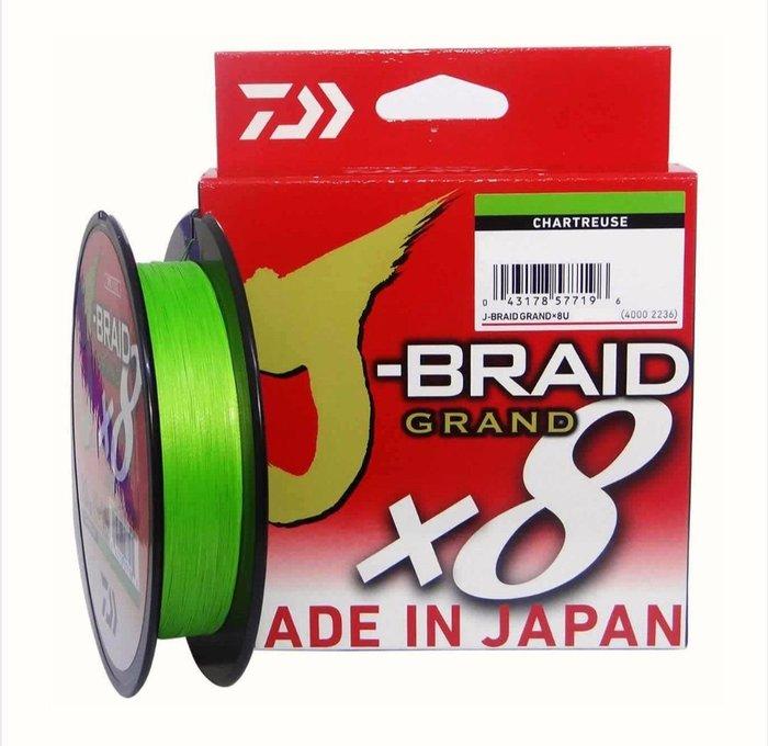 (桃園建利釣具)DAIWA J-BRAID GRAND X8 (300yd)螢光黃 PE線 8號賣場 (另有0.6號1號1.5號2號2.5號3號4號6號賣場)