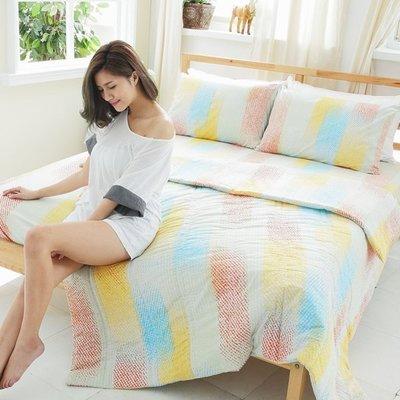 [SN]#S-LB001#100%天然純棉5x6.2尺雙人四件式涼被床包組*台灣製