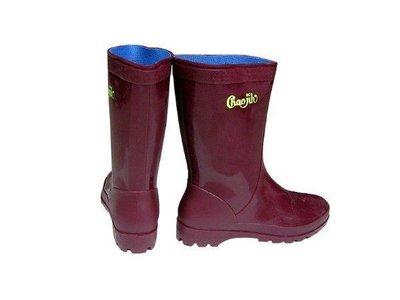 朝日牌-紅棕色女用雨鞋-特製耐力膠-有內襯-台灣製【小潔大批發】耐磨-批發價
