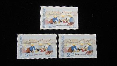 【大三元】泰國郵票-漁業採收郵票-新票3枚-原膠