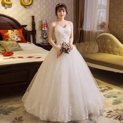 婚紗禮服齊地婚紗禮服抹胸蕾絲花朵韓式簡約顯瘦婚紗抹胸