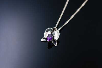 設計款- 蘭 - 墜子Pendent / 項鍊 Necklace / 925純銀手作紫水晶蘭花中國風復古旗袍母親節台灣製
