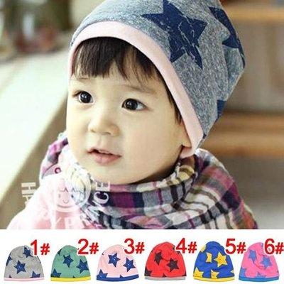 全新轉賣 假二件式星星造型棉質帽 /寶寶帽 /保暖帽 灰底藍星星 1元起標
