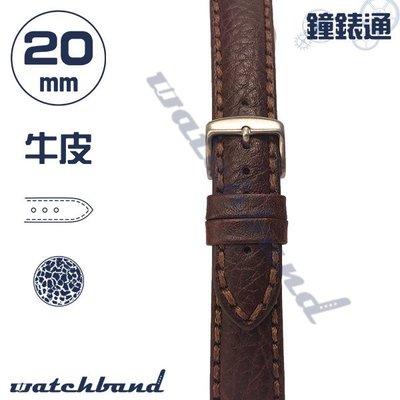 【鐘錶通】C1-02FR《簡約系列》荔枝紋-20mm 經典棕 /手錶錶帶/荔枝紋/牛皮錶帶/