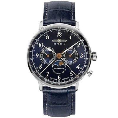ZEPPELIN 齊柏林飛船 7036-3 手錶 40mm 德國錶 軍風 數字錶 藍色面盤 藍色皮錶帶 男錶女錶