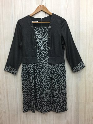 【愛莎&嵐】麥雪爾 MYVEGA 女 灰色假兩件式豹紋洋裝 / 38 1071008