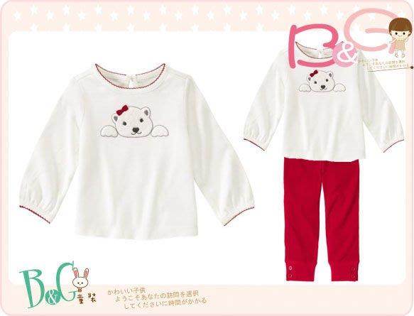 【B& G童裝】正品美國進口GYMBOREE貼布絨熊熊圖樣白色長袖上衣3yrs