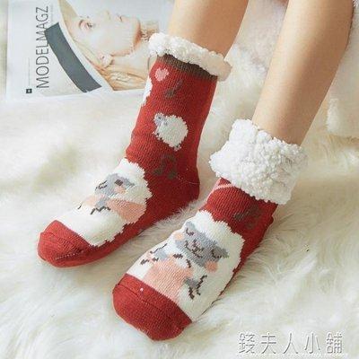麥麥部落 斕莎卡通可愛風風襪子女加絨加厚保暖襪大人家居月子襪防滑地MB9D8