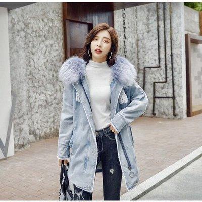 Loveliness韓國大毛領水洗牛仔長大衣厚外套~秋冬新品優惠