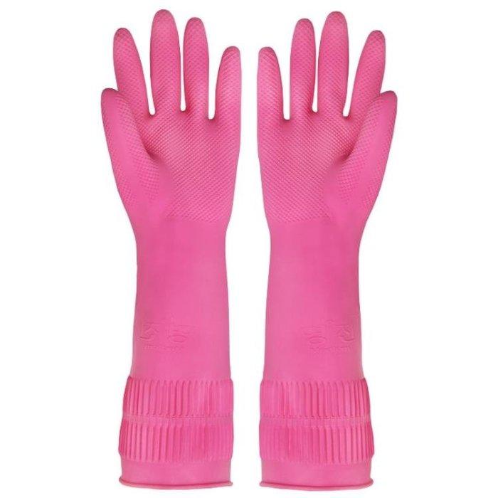 韓國進口橡膠家務手套廚房洗碗洗衣服防水乳膠手套加厚款3雙裝-奇妙世界Al免運 新品