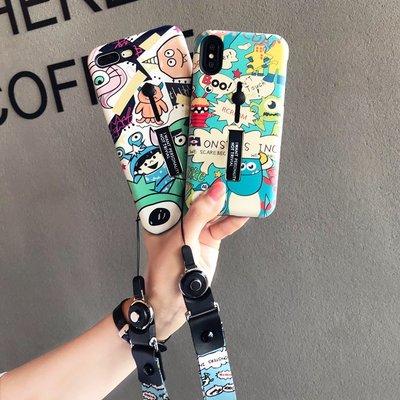 手機殼 硬殼 軟殼 正韓 簡約 神器蘋果x手機殼8plus新款iPhone7防摔6s超火掛繩