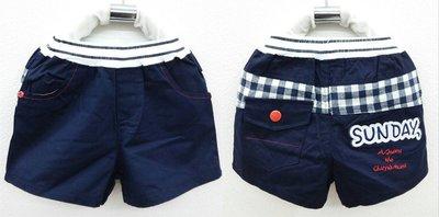 滿699 ~MONKEY BABY ~格子裝飾藍色平織短褲 7745
