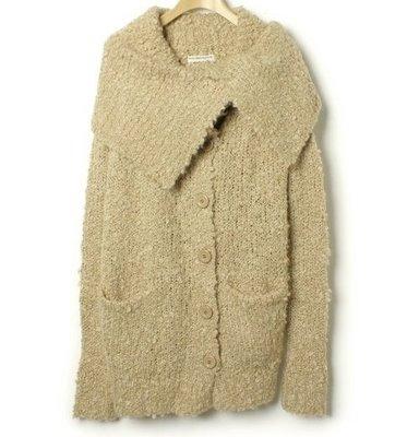 日本BITTEN APPLE時尚極簡毛呢羊毛毛海長大衣 外套 不規則設計領 限量款~(NO.1131)