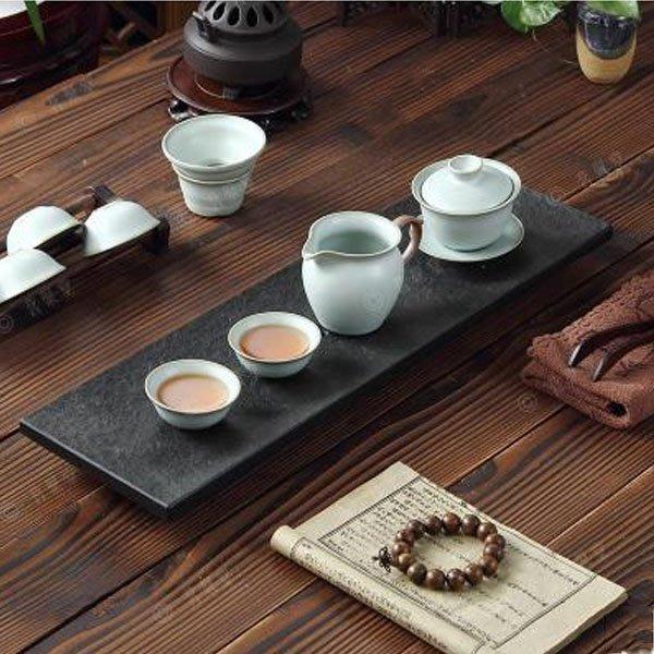 5Cgo【茗道】含稅會員有優惠 42477246427 烏金石茶盤天然石書房版小茶盤石茶台茶桌茶幾功夫 長50*15cm