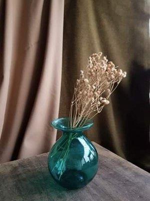 古湖水綠 玻璃花瓶 圓圓曲線腹身 綠色老玻璃 優雅浪漫質感 空間佈置 古道具 市集擺設