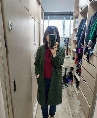 【全新正韓】高質感墨綠色修身顯瘦長版針織外套手工大衣 zara iroo moma bff80s chloe uniqlo