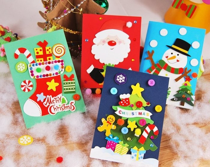 【小阿霏】聖誕賀卡DIY材料包 4卡片一組 簡易無須基礎親子手作手工美勞 耶誕節幼稚園活動裝飾擺飾品3D立體卡片T17