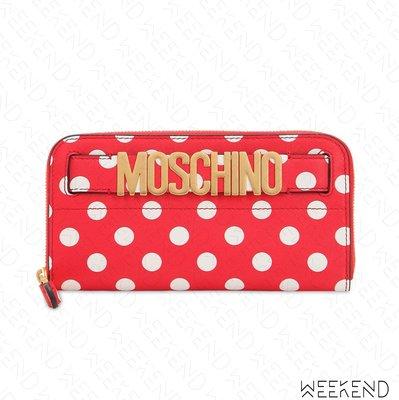 【WEEKEND】 MOSCHINO Logo Polka Dot 點點 皮夾 長夾 紅色 19春夏