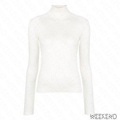 【WEEKEND】 EACH X OTHER 合身 高領 肩膀貼片 長袖 上衣 白色 18秋冬