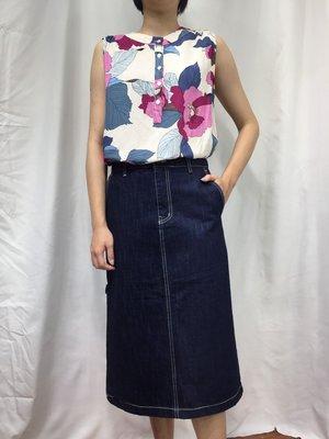 正韓korea韓國進口CONCORDANCE深藍色腰內格紋牛仔裙無彈性長裙 現貨特價 小齊韓衣