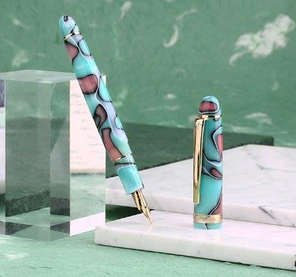 ☆艾力客生活工坊☆019-465 末匠S3 迷彩樹脂銥金鋼筆 德國施密特筆尖 旋轉筆蓋(彩之藍)