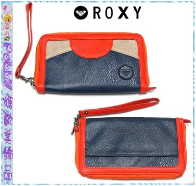 ☆POLLY媽☆歐美ROXY深藍/米/珊瑚橘幾何拼接荔枝皮拉鏈手拿包/大型長夾21×12×2cm