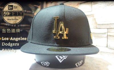 New Era MLB LA Dodgers Gold Metal 59fifty 洛杉磯道奇隊金色鐵牌全封尺寸帽黑色