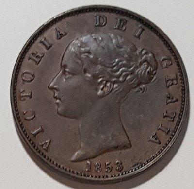 英國銅幣1853 UK Victoria Young Head Halfpenny 1/2d.