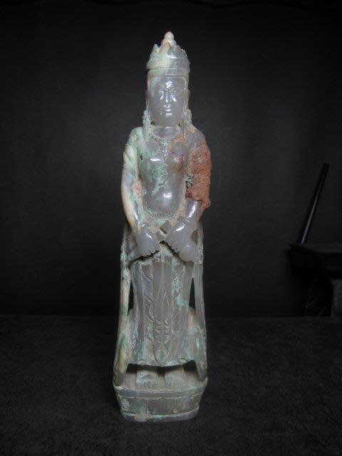 和闐玉雕◎ 中國出土  持瓶觀音 黃土青銅沁   非壽山石