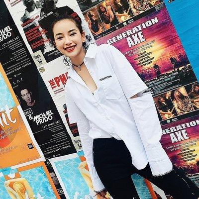 2018韓版心機襯衫女設計感寬松百搭學生上衣港風polo衫長袖襯衣