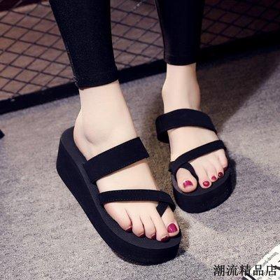 厚底拖鞋女夏韓版外穿高跟涼鞋時尚夾腳坡跟防滑沙灘鞋涼拖人字拖