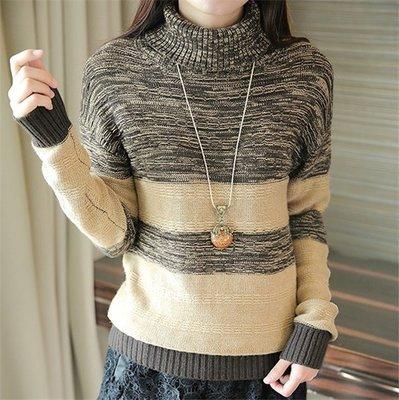 ~Linda~高領撞色毛衣 秋冬新款 套頭針織衫 寬鬆打底衫 厚女毛衣