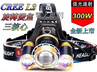 超低特價-美國L2 三頭燈旋轉變焦頭燈3600流明超強光18650雙鋰電多角度調整頭燈登山露營釣魚修車戶外照明-雲火光電
