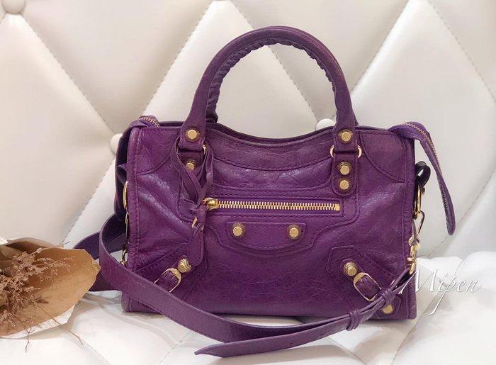 ☆名品寶庫☆ Balenciaga 巴黎世家 紫色 小金釦 Mini City 機車包 特價 *現貨* #