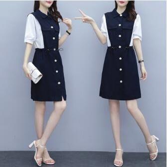 棉麻洋裝 新款女裝夏季韓版修身收腰中長款連身裙棉麻拼接撞色短袖裙 站CXZJ