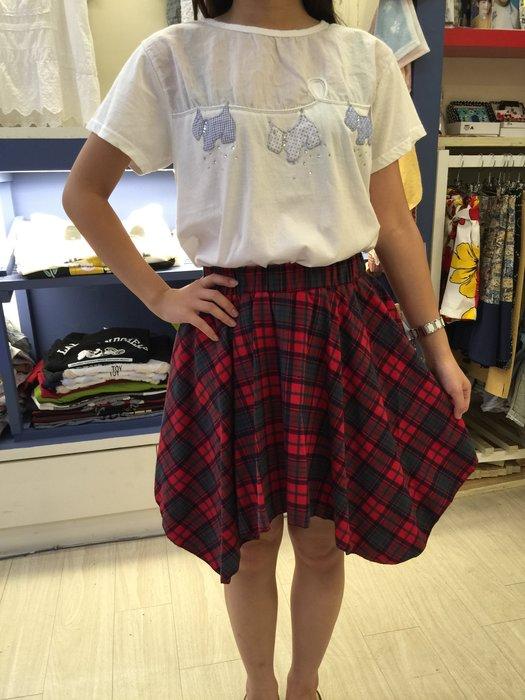 【江南小舖】正韓-不對稱蘇格蘭裙***特價出清