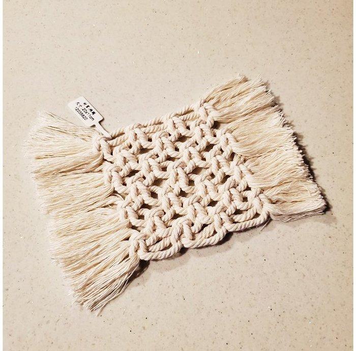 【萌古屋】手工棉繩白色長方形編織杯墊12035820