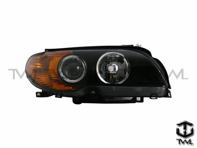 《※台灣之光※》全新BMW寶馬E46  2D 2門03 04 05 06年HID黑底魚眼投射黃色反光大燈頭燈
