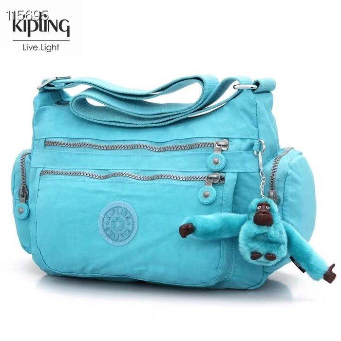 Kipling 猴子包  K132127 亮藍 多夾層拉鍊款輕量斜背包肩背包 大容量 旅遊 防水 限時優惠