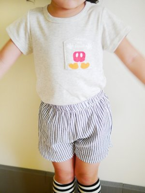 米色可愛口袋素面短袖上衣 男女款 Bunny  Cloud