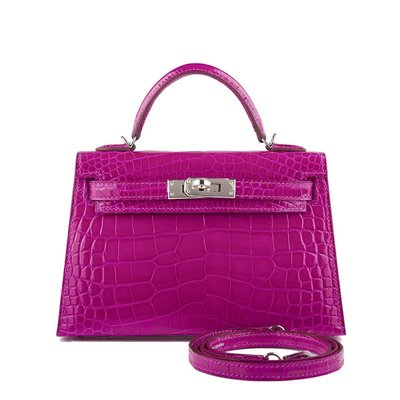 Hermes Mini Kelly II ckJ5 Crocodile Alligator Shiny