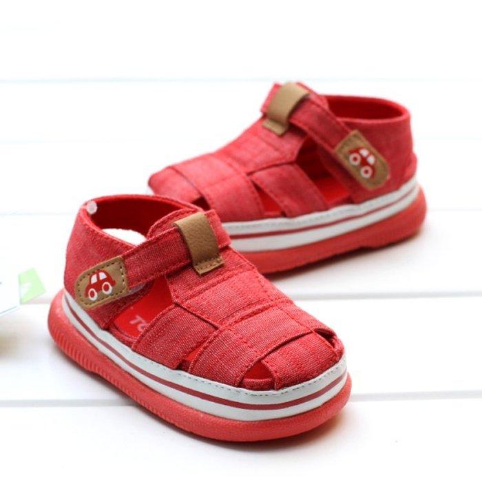 寶貝倉庫~紅色休閒包頭軟膠涼鞋~學步鞋~寶寶鞋~學走鞋~娃娃鞋~幼兒鞋~童鞋~粘扣設計~穿脫方便~彌月贈禮